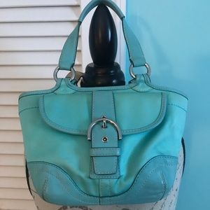 Teal coach leather and canvas bag